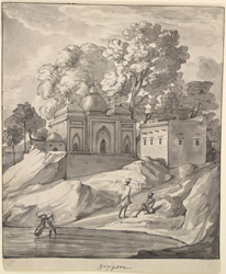 A temple on the river bank, Ghazipur (U.P.). 14 September 1803